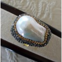 Pearl Ring Surrounded By Swarovski Crystals