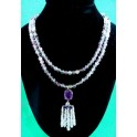 Double Strand Amythest/Aqua Stone Necklace