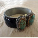 Druzy Double Leather Cuff Bracelet