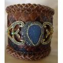 Leather Druzy Cuff Bracelet