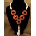Pearl with Coral Skin Circle Necklace                                                         Decorative hanging pearl tassel