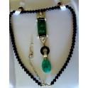 Black Onyx Necklace with Green Jadeite and Diamonique Drop