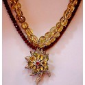 Double Citron and Garnet Necklace with Antique Flower Drop
